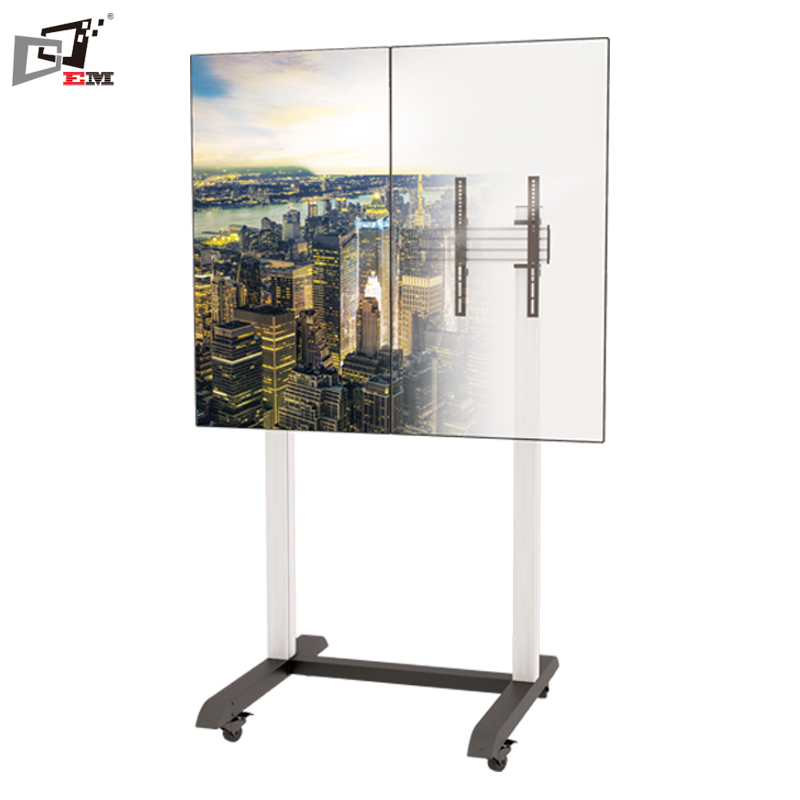 Aluminum Metal TV Trolley Mobile Exhibition Stands For 100 Inch TV