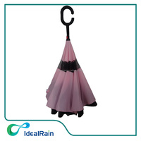 pretty pink color girl windproof double layer umbrella