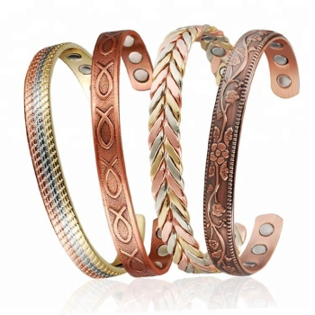 Inox Fashion Bangle Jewelry Gold Magnetic Copper Bracelet