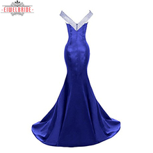 Blue Off Shoulder Sexy Prom Evening Dresses Women