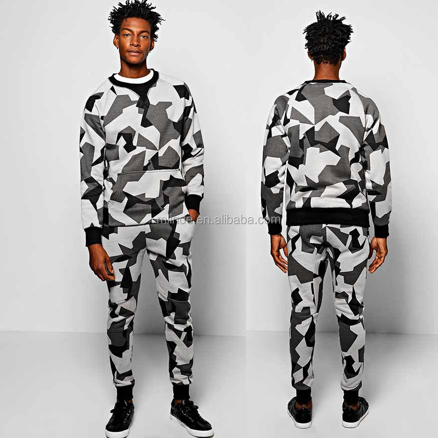 OEM Men Fitness Track Suits Designer Tracksuit Factory Skinny Fit Geo Camo Print Sweat Tracksuit OEM Jogging Clothing 2017