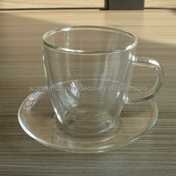 140ml heat resistant clear pyrex glass cup and saucer