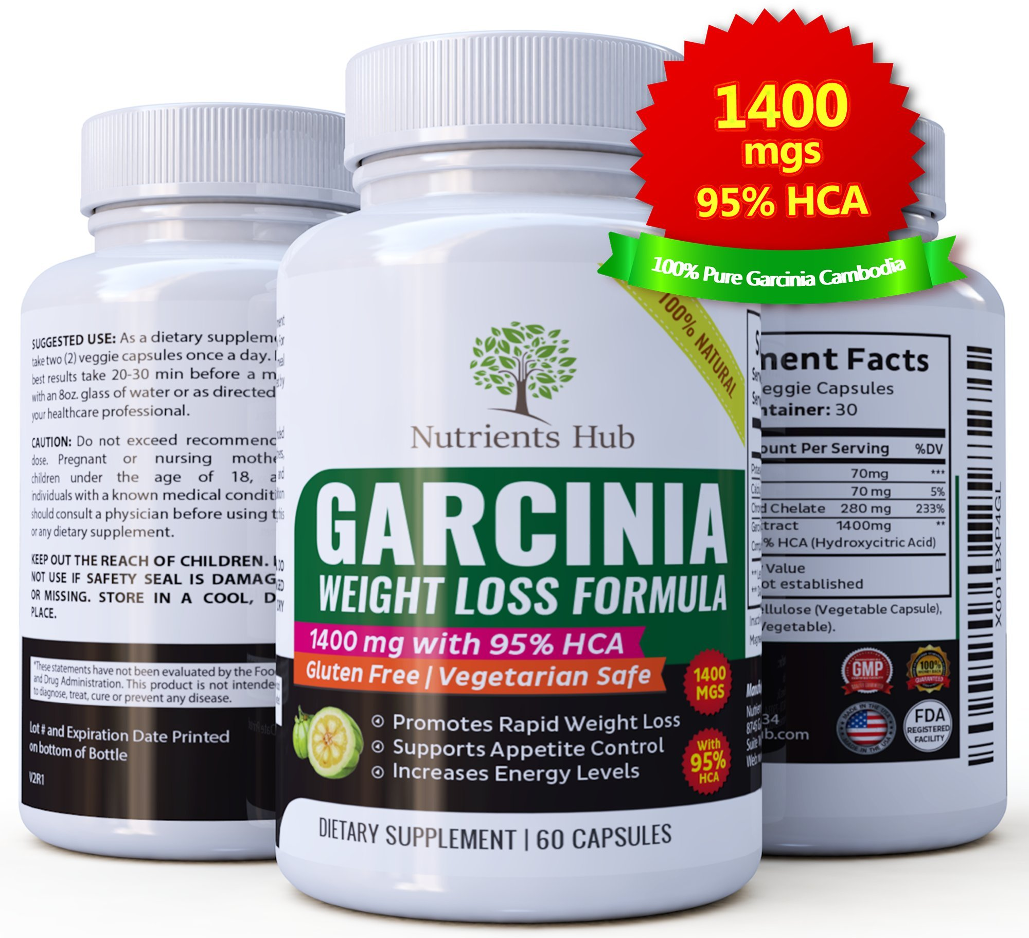 GARCINIA FOR HER 100% Pure Garcinia Cambogia 1400mgs - 95% HCA Extract 60 Veggie Weight Loss pills, Natural Appetite Suppressant, Carb Blocker and Fat Burner Weight Loss Supplement for Women & Men