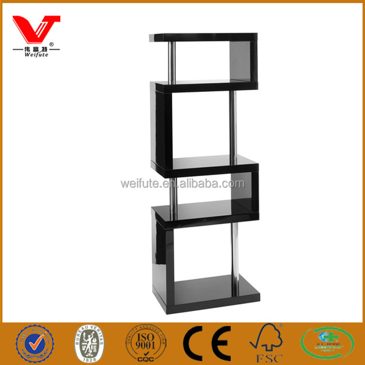 High end used modern and unique tall black wooden shelving unit