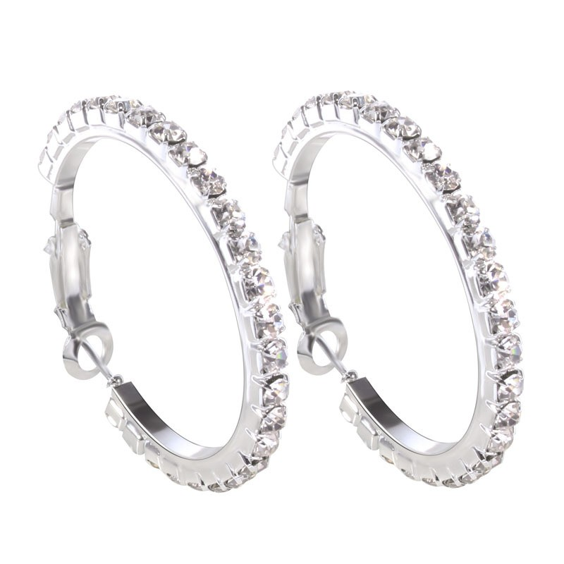 Korean Jewelry Silver Hoop Earrings Crystal Rhinestone Earring