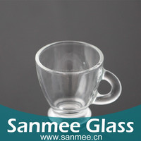 2016 New Fashion Thick Wall Glass Tea Cup Set With Handle