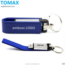 TOMAX Custom logo Black leather USB stick 16G red leather Pen drive