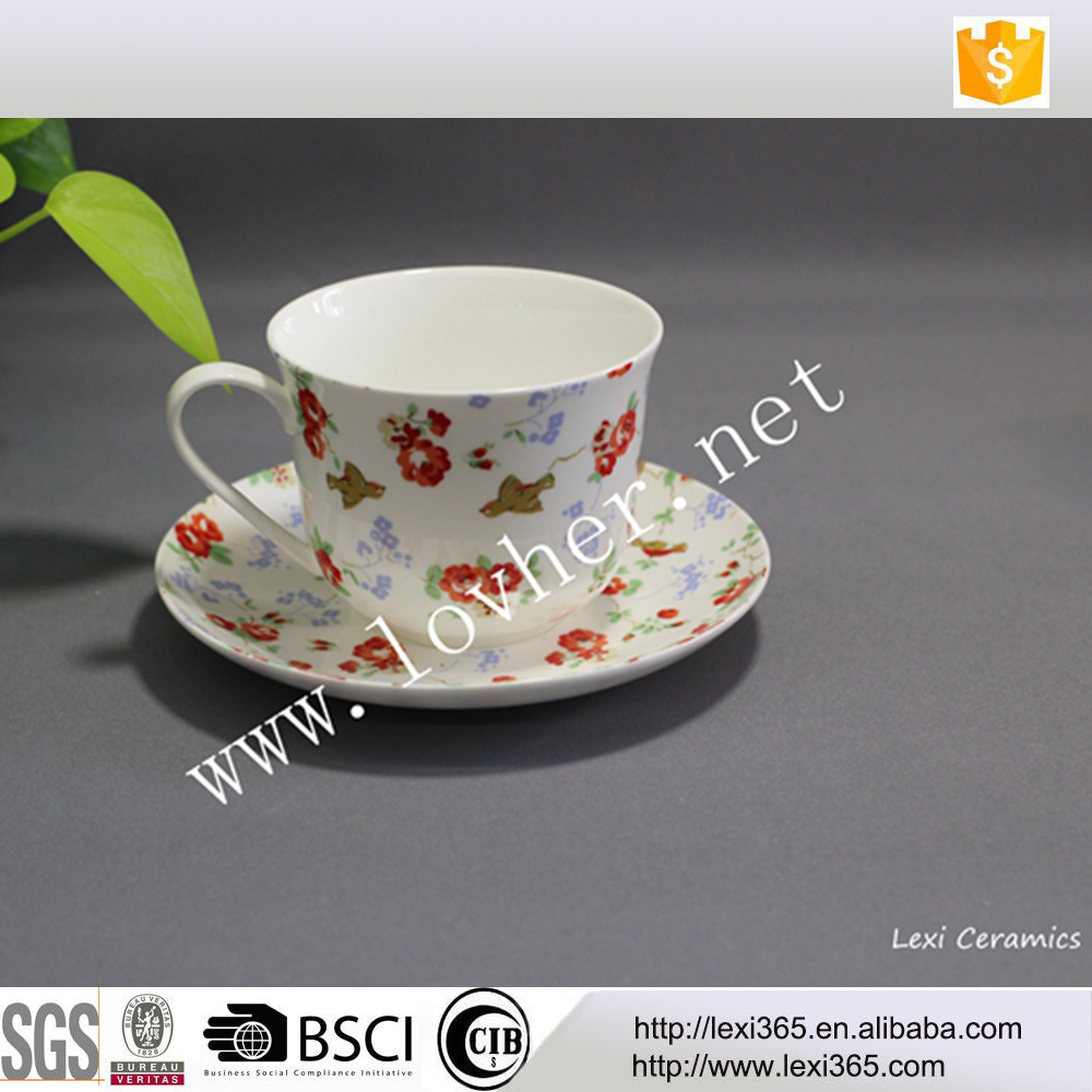 Bone china cup and saucer floral and bird design Porcelain breakfast cup and saucer