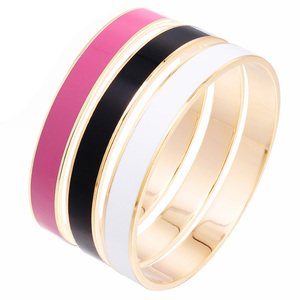 Stainless Steel Fashion Gold Women Simple Enamel Bracelet Bangle