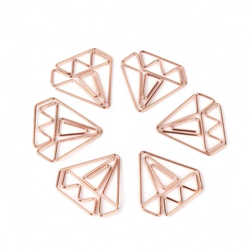 Hot Sale Different Customized Shaped Paper Clips, Rose Gold Custom Paper Clip in PP Box