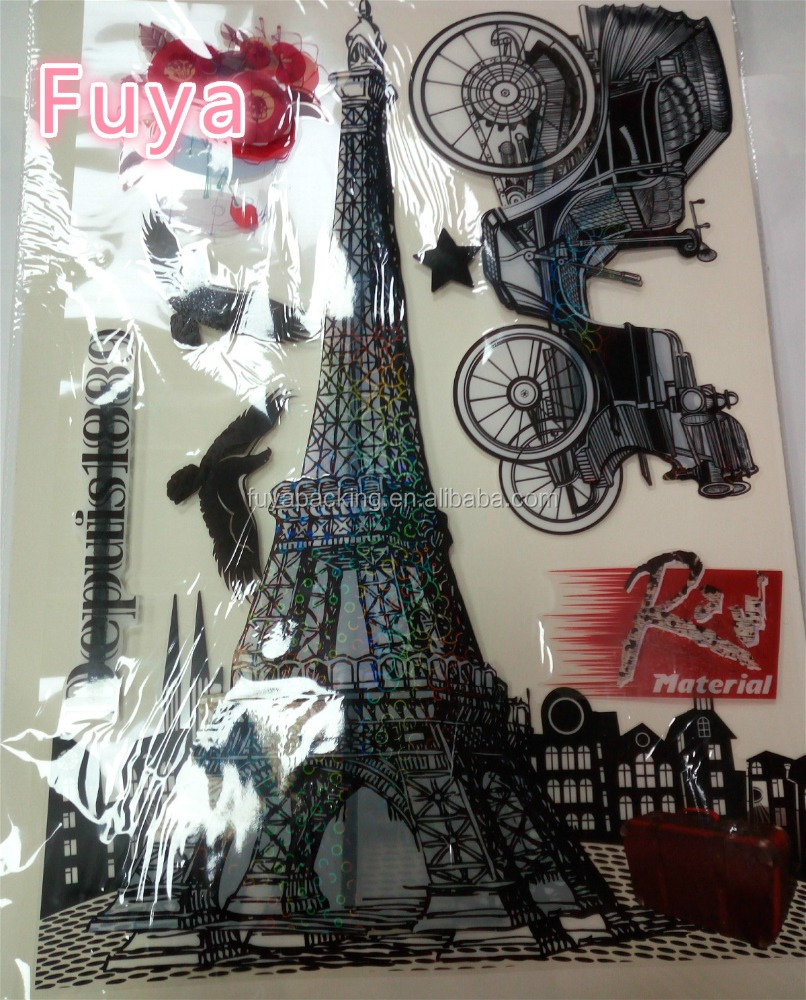 Excellent Quality eiffel tower wall sticker 3d art pvc home decor wall