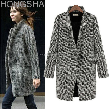 Ladies Long Coat Design Single Breasted European Fashion Winter