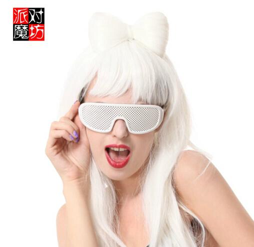 D6CB Funny Party Fancy Black Bar Sunglasses Censor Glasses Lady GaGa Prop