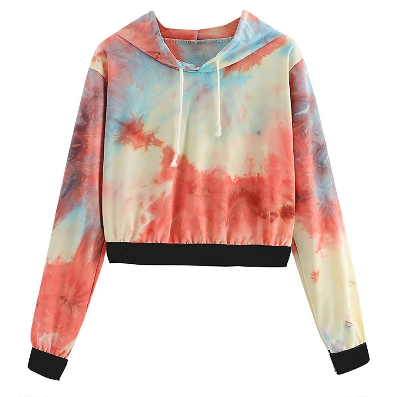 OCASHI Women's Drawstring Pullover Long Sleeve Tie Dye Print Casual Sweatshirt Crop Top Hoodies