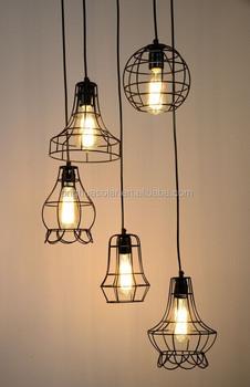 vintage edison bulb cage shade hanging cage pendant - Edison Bulb Pendant