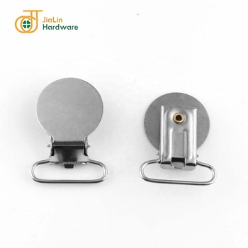 25mm Round Flat Top Plate Logo Customized Suspender Clips Stainless steel Iron Optional Clips