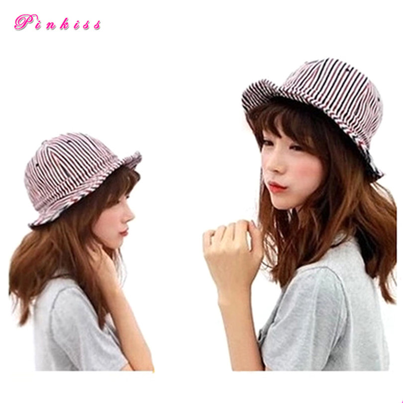 Outdoor Bucket Hat Men Women Summer 2015 New Fashion Striped Dome Outdoor Sun Hats For Lovers Cappello Da Pescatore