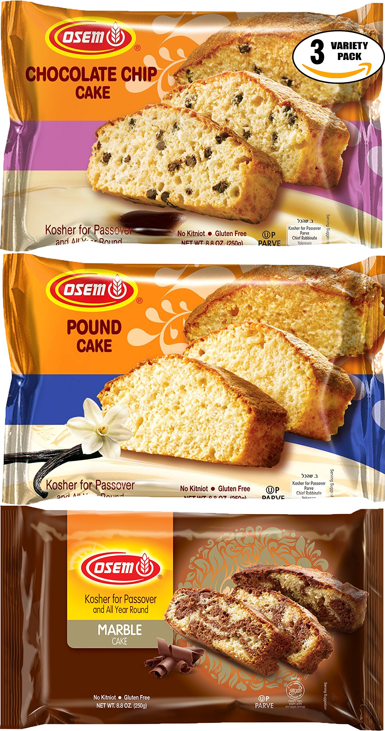 Osem Passover Cakes (Chocolate Chip/Marble/Pound Variety Special, Variety 3-Pack Special)