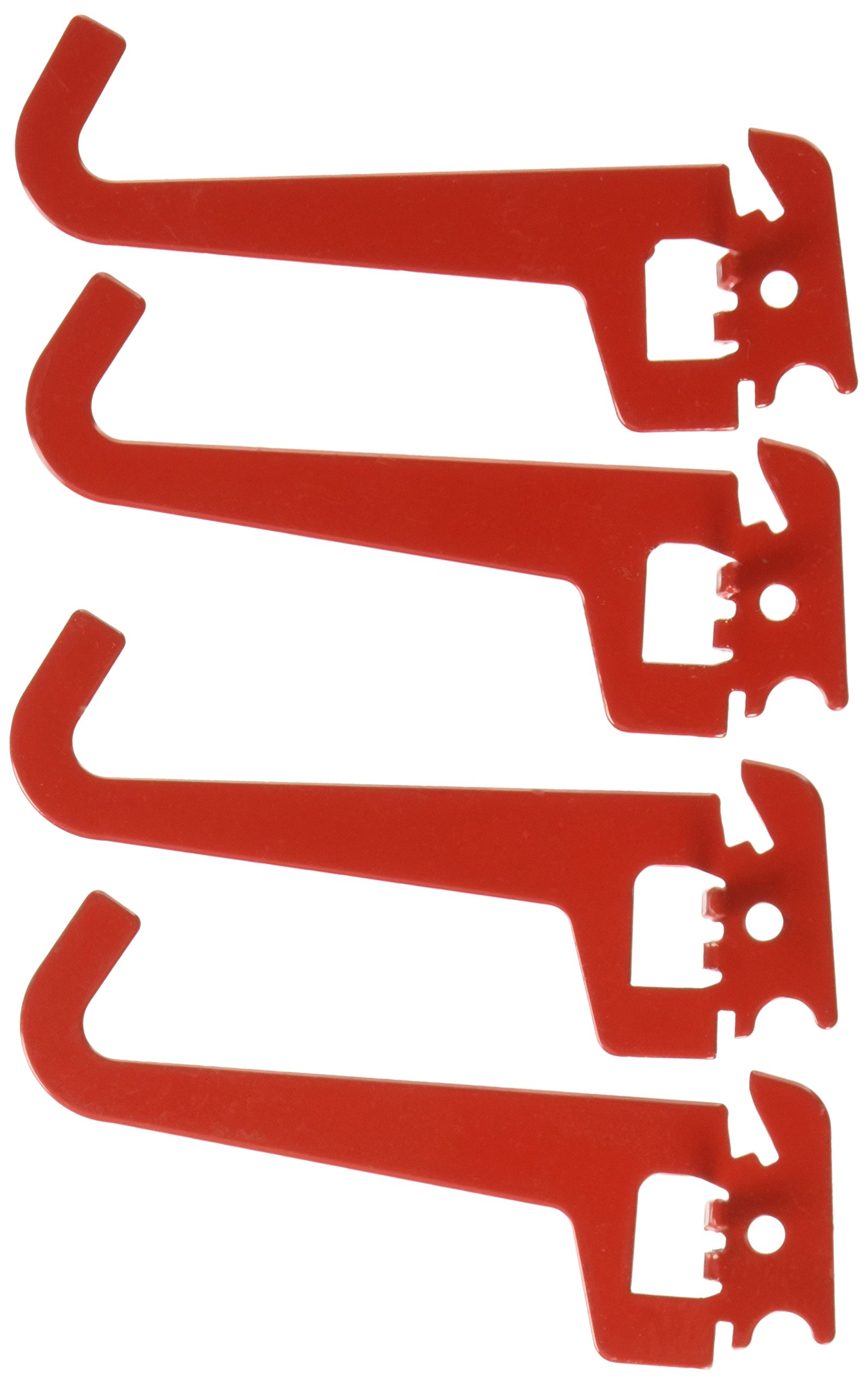 "Wall Control 10-HZ-103 R Pegboard 3-1/2"" Reach Curved Tip Slotted Hook Pack Slotted Metal Hooks for Wall Control Pegboard Only, Red"