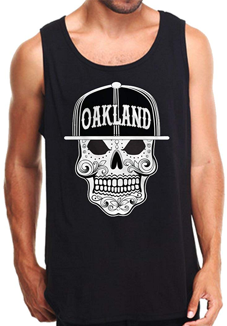 CaliDesign Men's Oakland Sugar Skull Tank Top Oak Town
