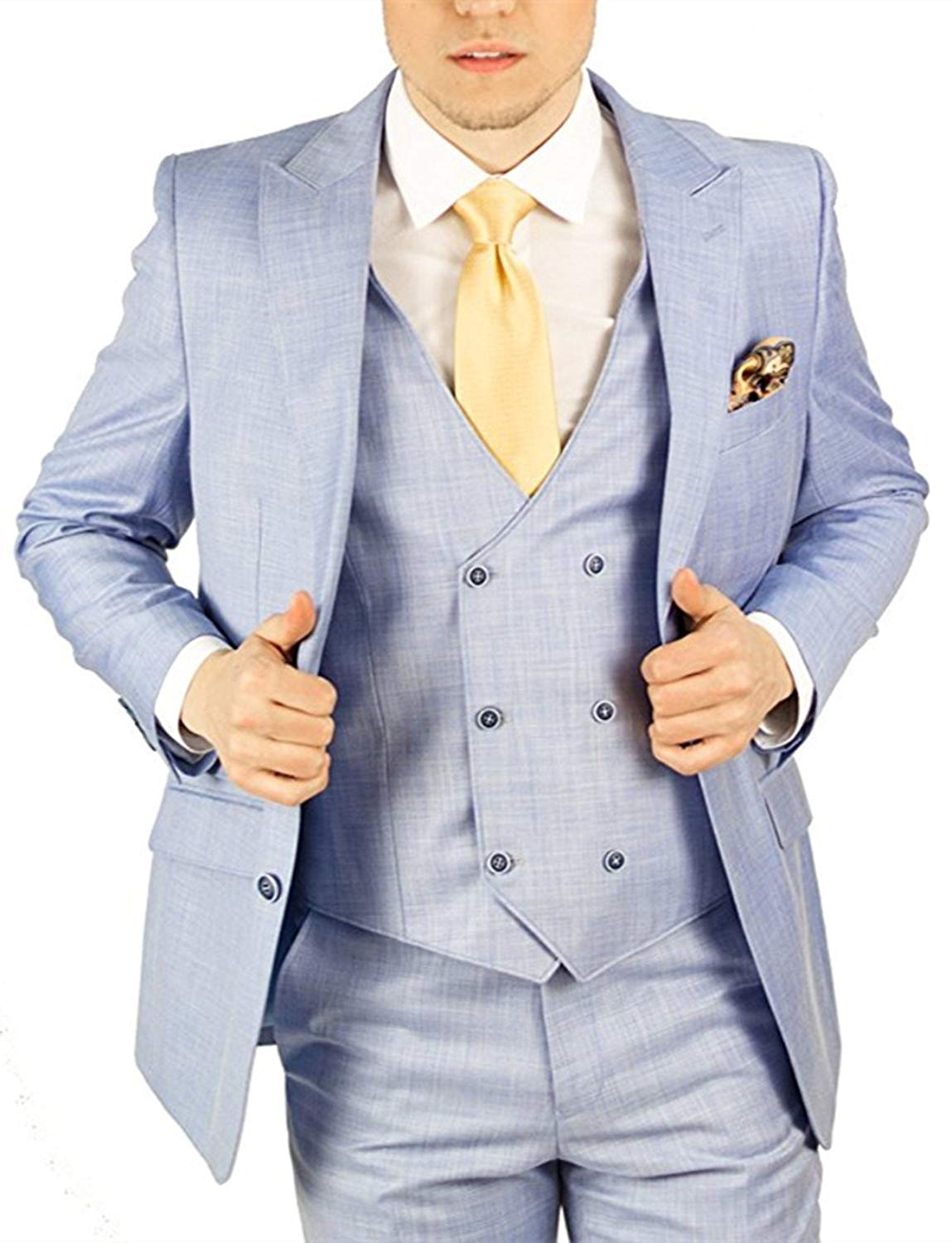 Suxiaoxi Mens Formal 3 Pieces Tuxedo Business Suits Handsome Groom Suits