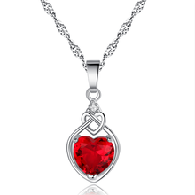 The (High) 저 (Quality Fashion Red heart 펜 던 트 necklace 와 두 번 heart Wedding Jewelry 대 한 Women 선물