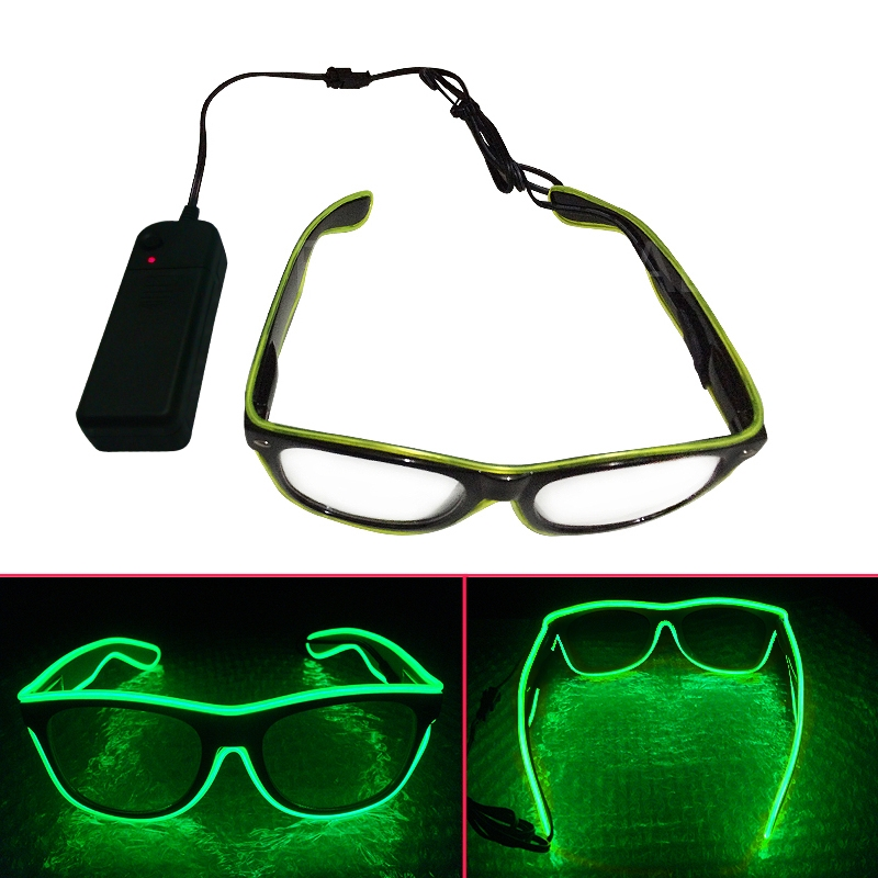 c174fc5798c Get Quotations · Shutter Light Up EL Wire Glow Shades Party Bar Eye-wear  Glasses Brand Designer Lemon