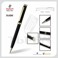 classical black barrel ball pen with aluminum barrel