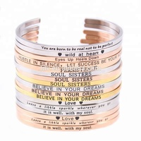 Stainless steel jewelry inspirational message bangle cuff bracelet hand stamped stainless steel engraved bar bracelet