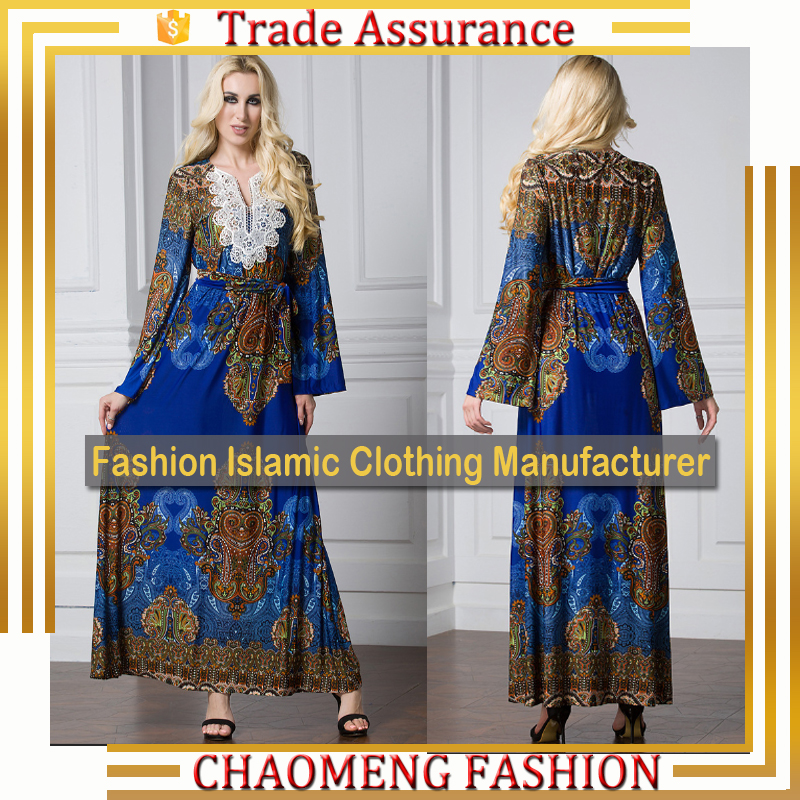 5066#2017 New Model Bohemian Style Islamic Women Printing Long dresses Plus Size Long Sleeve dresses for girls L-7XL