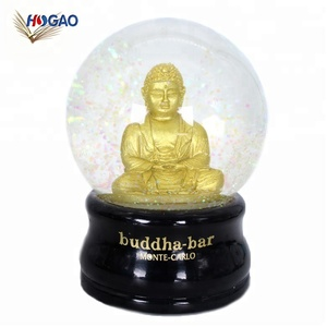Buddha sculpture inside collectible figurine wholesale OEM glass globes tourist souvenir india buddha snow globe