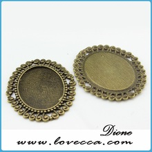 jewelry gold brass round bezel pendant blank with 20mm domed glass cabochon