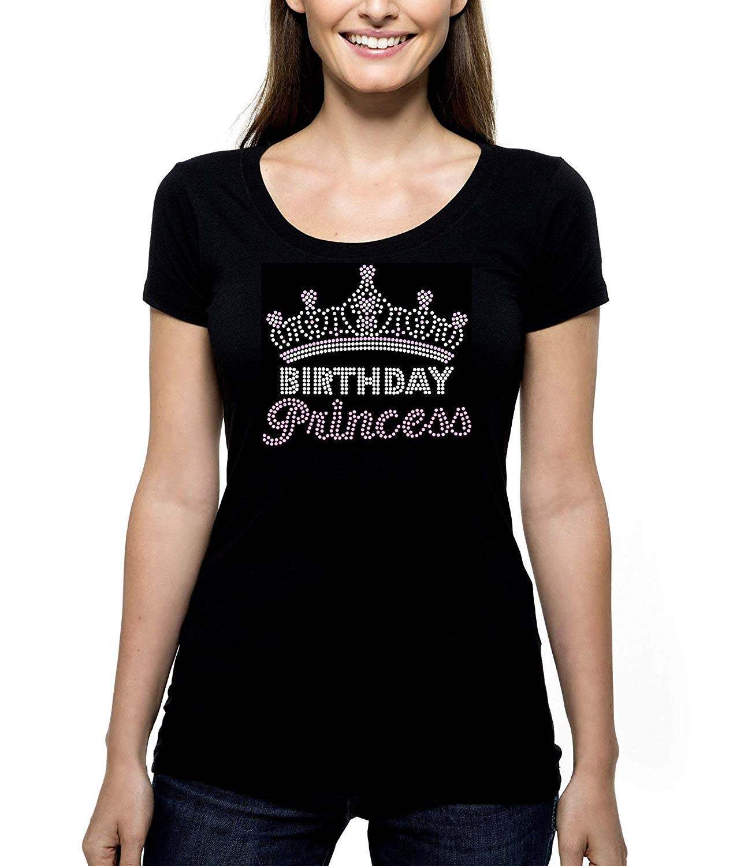 Get Quotations Birthday Princess Crown RHINESTONE T Shirt Tee Bling