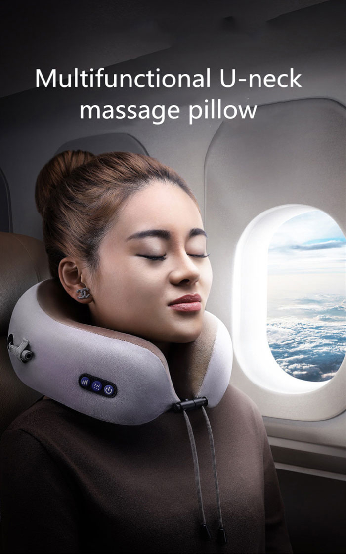 Electronic Neck Massager Travel Pillow USB Charger Mini Massager