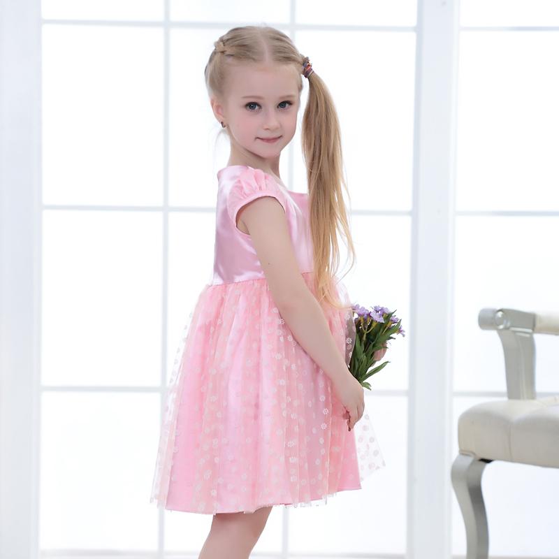 Rosa hermosa chica partido diseño vestido niña vestidos de ...