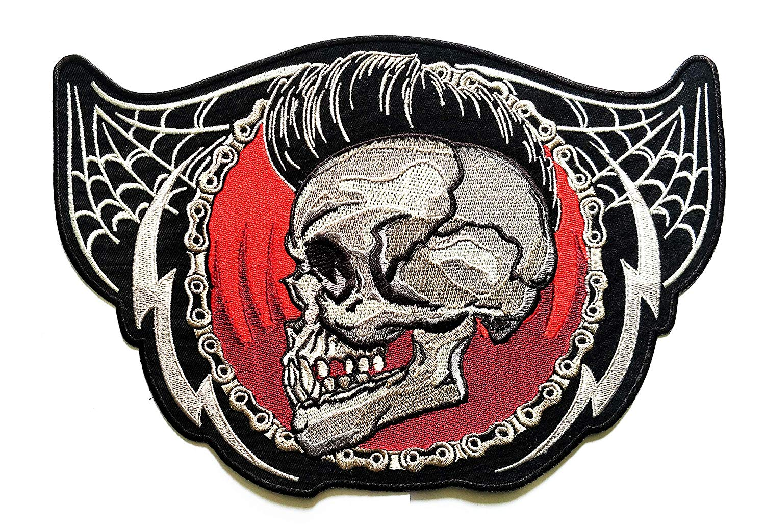 """/""""JUMBO SIZE/"""" Skull Cross Lady Rider Motorcycle Back Embroidered iron on patches"""