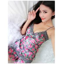 Sexy Cute Sweet Women Silk Lace Floral Braded Robe Sleepwear Lingerie Nightdress Babydoll Pajamas Set V-Neck + Pyjama Trousers