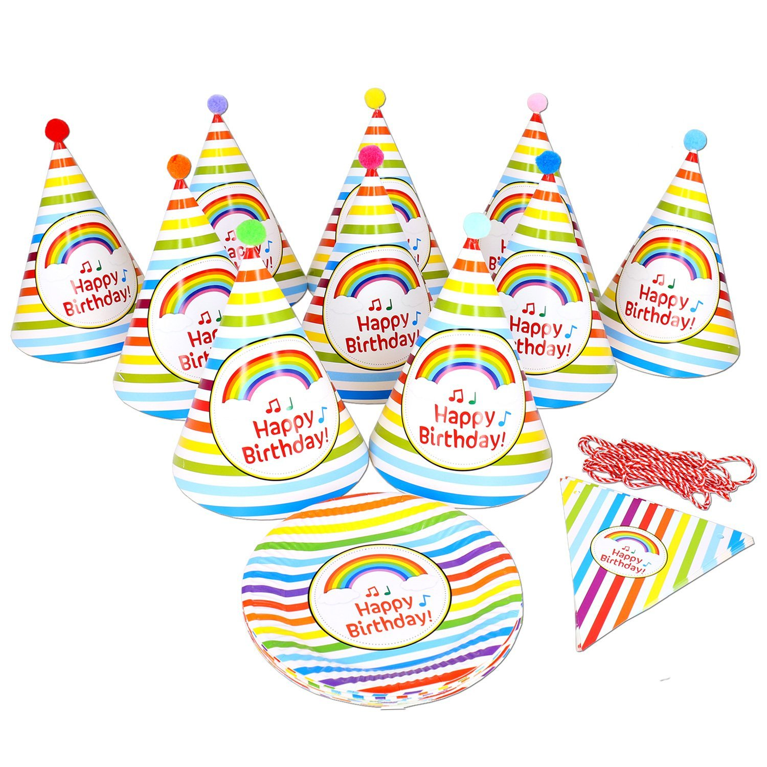 Get Quotations 10 Rainbow Birthday Party Hats Plates 1