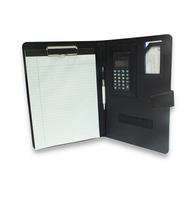 custom logo a5 folding leather file folder with calculator