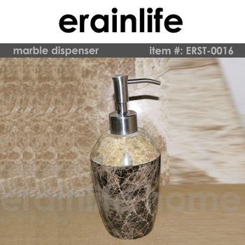 Ecru Decorative Pattern Round Marble Hotel Balfour Bathroom Soap Dispenser