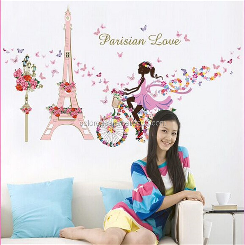 colorcasa pvc diy wall sticker belle tour un v lo paris. Black Bedroom Furniture Sets. Home Design Ideas