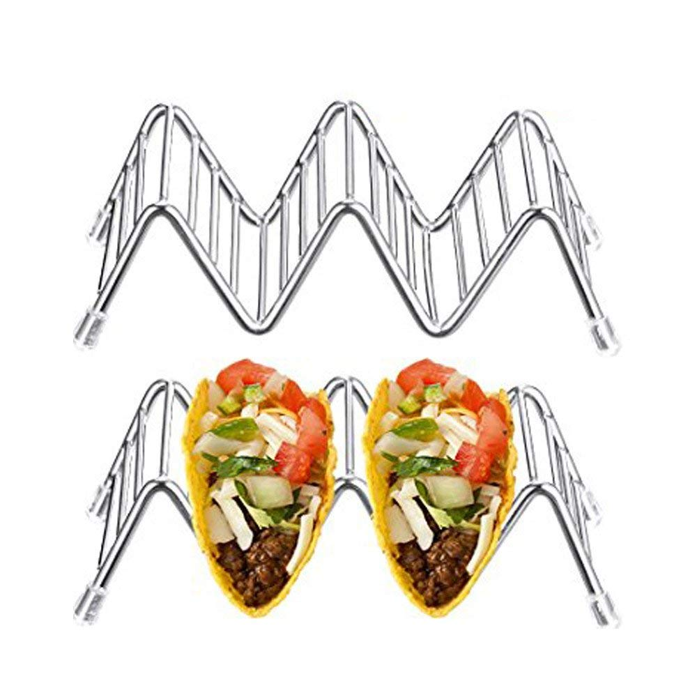 Taco Stand Stainless Steel Rustproof Taco Rack Hold 4 or 5 Hard or Soft Taco Shells Taco Truck Tray Style Oven Safe for Baking 2-Pack Amazer Taco Holder