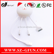 Lucky Cat Micro-USB USB Type and Computer Mobile Phone Use 3 In1 Micro USB Cable Data Sync Charger Can OEM Logo