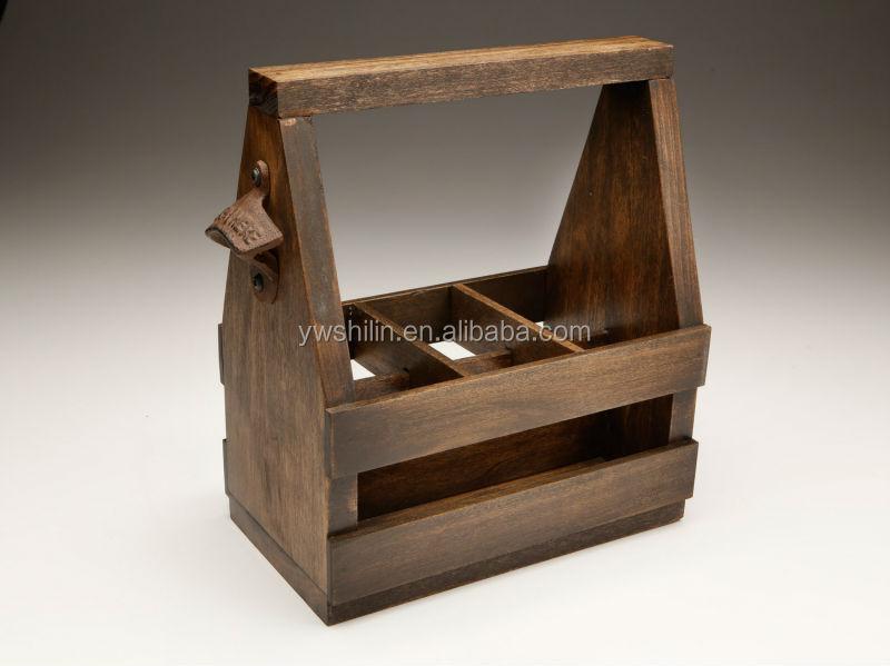 wooden beer box / wooden beer crate / archaistic wooden beer holder ...