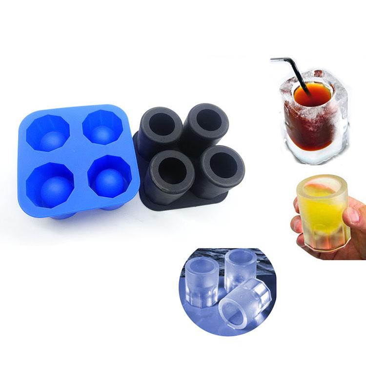 Ледяная стопка 4 Полость вокруг пуля силикона для пищевых продуктов класса премиум плесень льда поднос чашки для виски