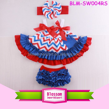 4th July USA apparel bowknot dress Swing Top Red White Blue chevron Baby unisex Bloomer 3 pcs 4th of July boutique swing sets