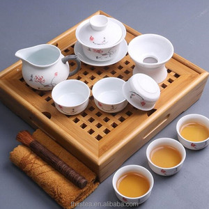 2018 chinese Kung Fu tea ceremony chinese bamboo tea tray beauty Snowflake glaze teapot teacup ceramic square Tea sets on sale