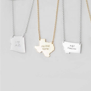 925 sterling silver africa map necklace