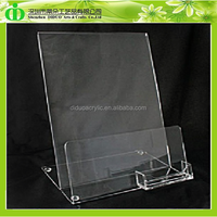 DDE-B004 Wholesale Acrylic Brochure Display Stand With Namecard Holder, Brochure Display Rack