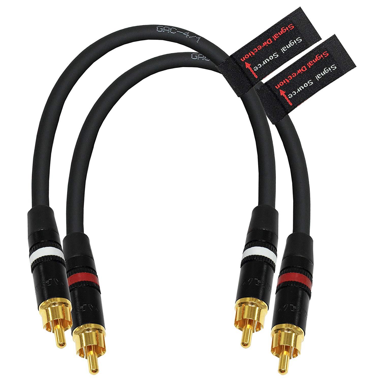 1.5 Foot RCA Cable Pair - Gotham GAC-4/1 (Black) Star-Quad Balanced Audio Interconnect Cable with Neutrik-Rean NYS Gold RCA Connectors - Directional